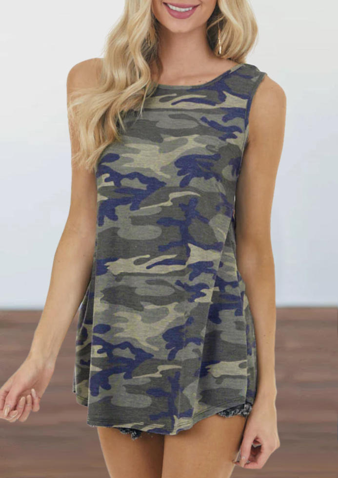 Camouflage Back Twist Hollow Out Tank
