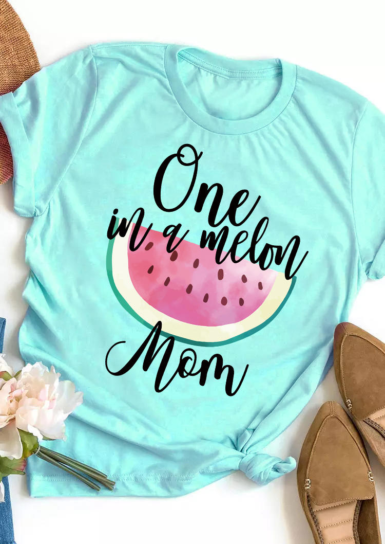One In A Melon Mom Casual T-Shirt Tee - Lake Blue