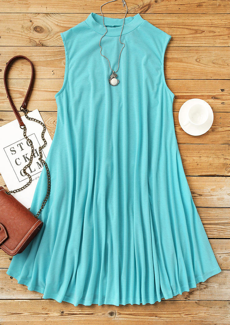 Pocket Sleeveless O-Neck Mini Dress - Cyan