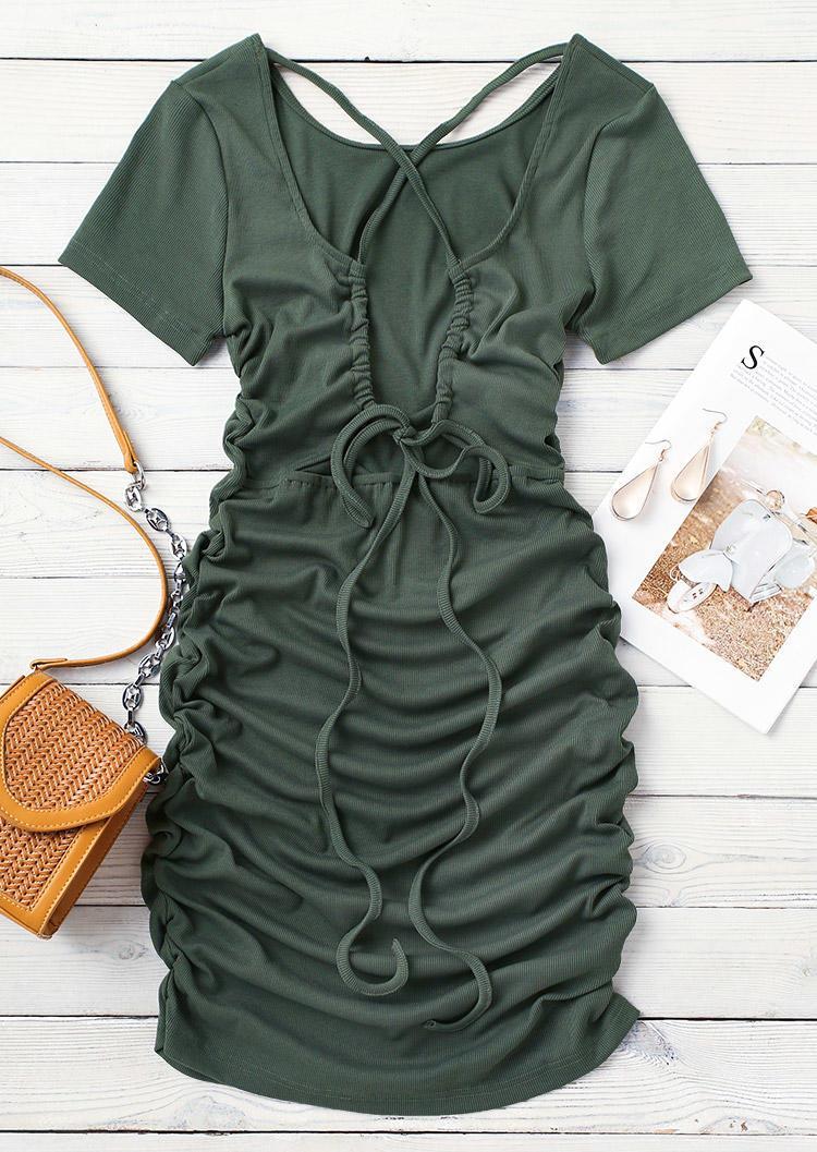 Ruched Criss-Cross Open Back Bodycon Dress - Dark Green