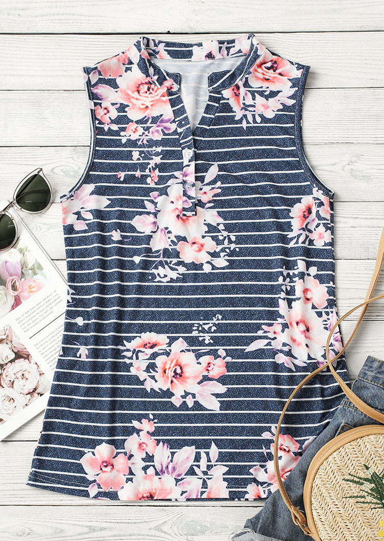 Striped Floral Button Casual Tank