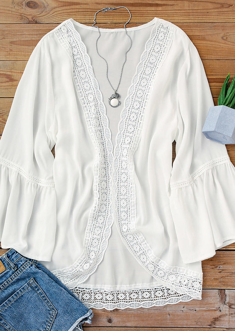 Lace Splicing Flare Sleeve Cardigan - White