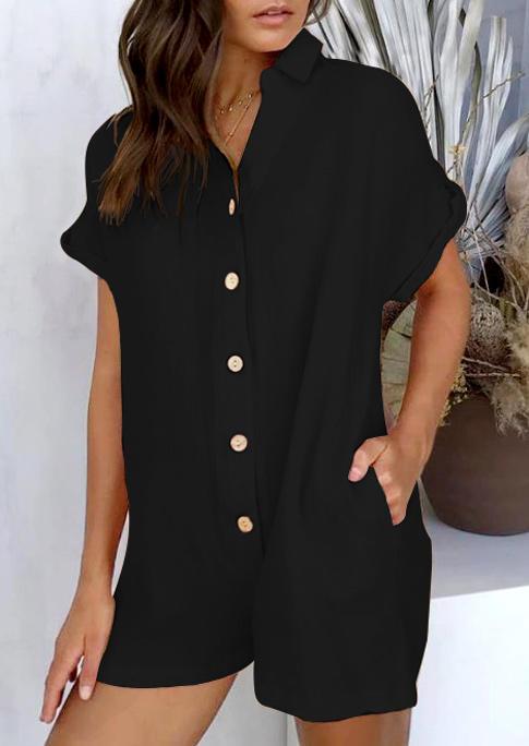 Single Button Pocket Turn-Down Collar Romper - Black