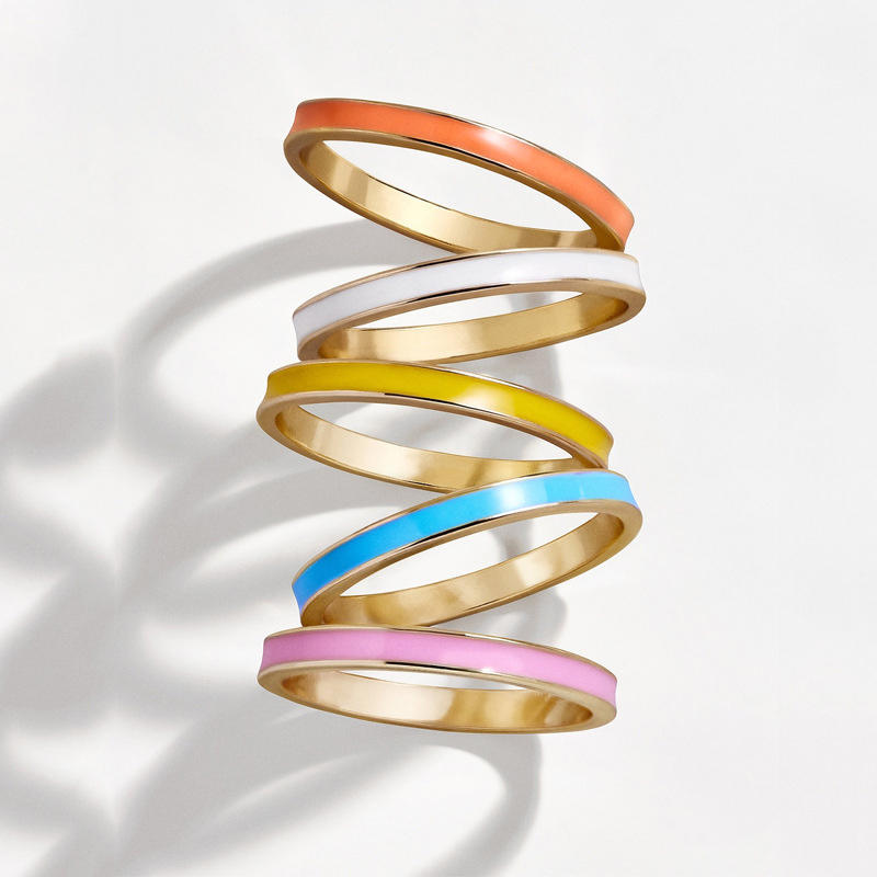 5Pcs Cute Colorful Alloy Rings