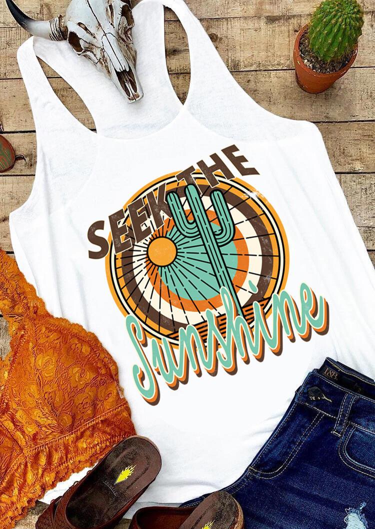 Seek The Sunshine Cactus Tank - White