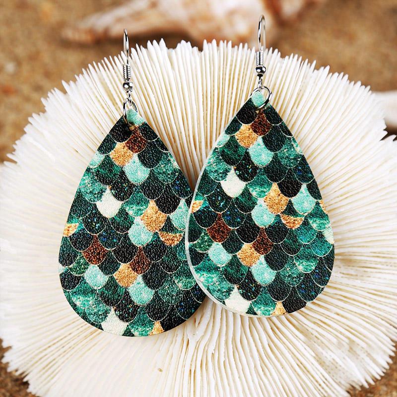 Colorful Mermaid Scales Water Drop Earrings - Cyan