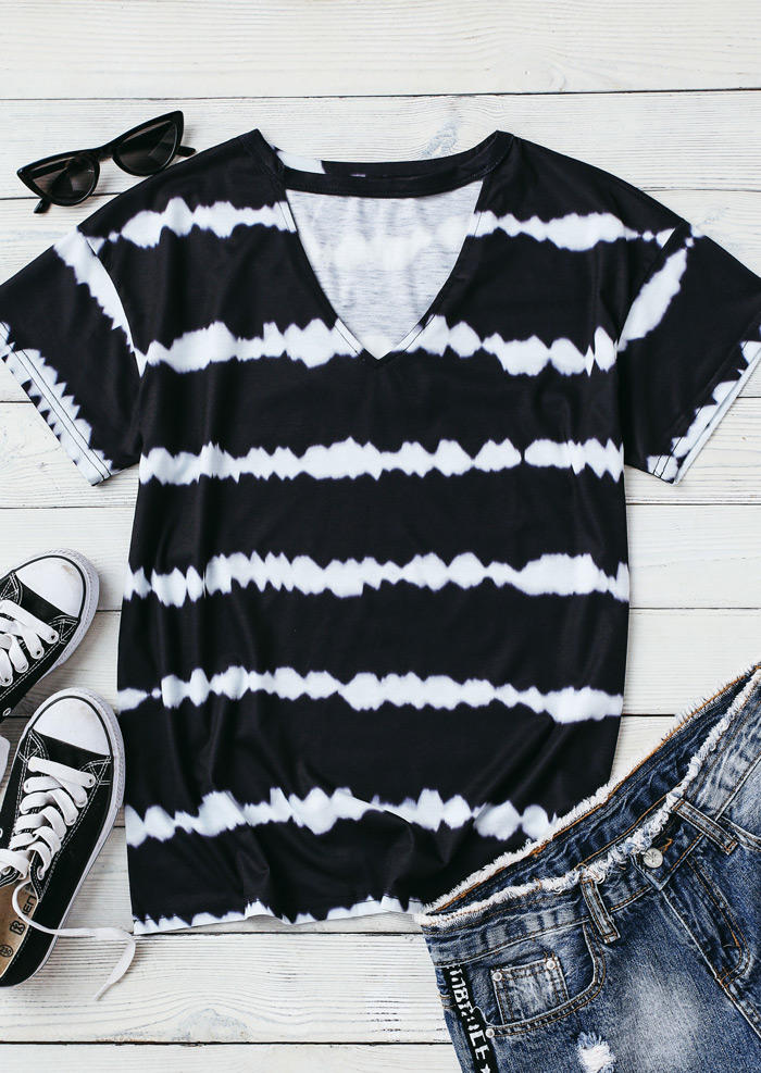 Tie Dye Keyhole Neck Loose Blouse - Black