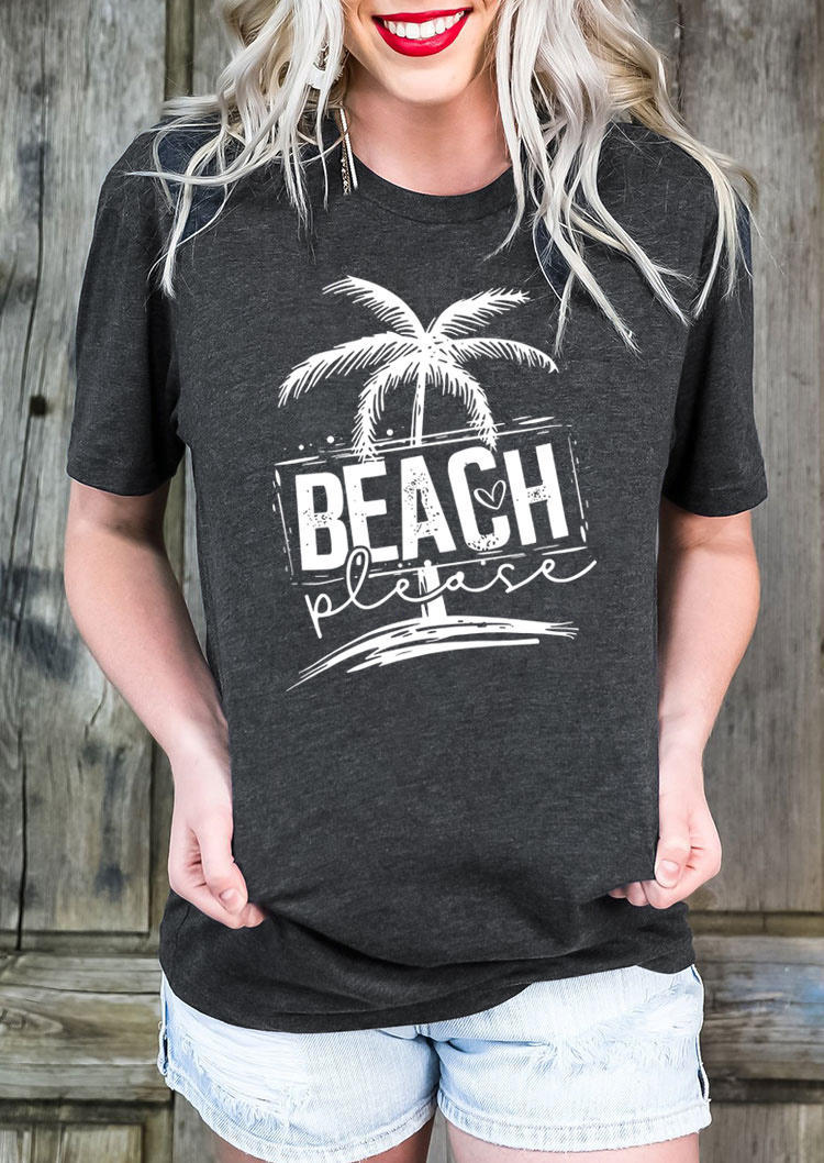 Beach Place Coconut Tree T-Shirt Tee - Dark Grey