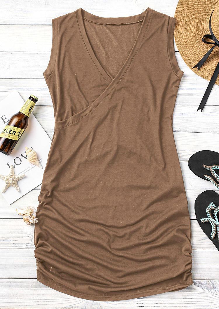 Wrap Sleeveless V-Neck Mini Dress - Brown