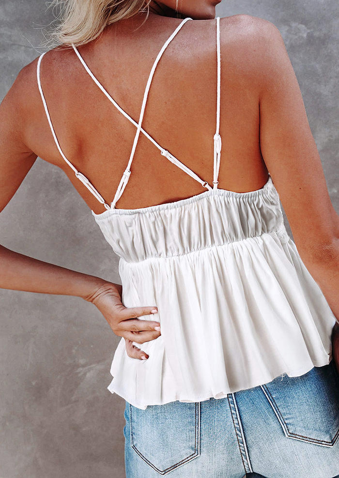 Hollow Out Lace Splicing Criss-Cross Ruffled Camisole - White