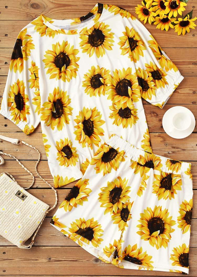 Sunflower Blouse And Elastic Waist Shorts Two-Piece Set