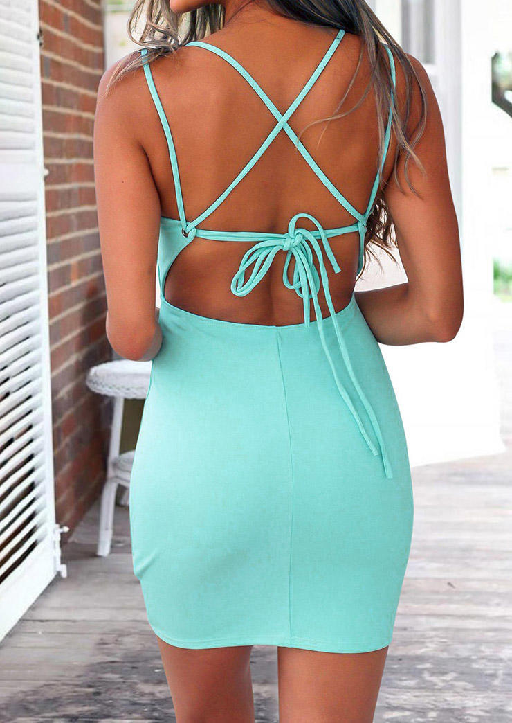 Open Back Cross Tie V-Neck Bodycon Dress - Light Green, 502470