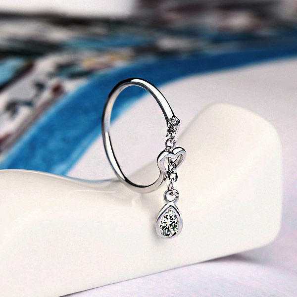 Hollow Out Heart Water Drop 925 Sterling Silver Ring