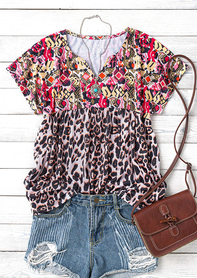 Floral Leopard Short Sleeve Blouse