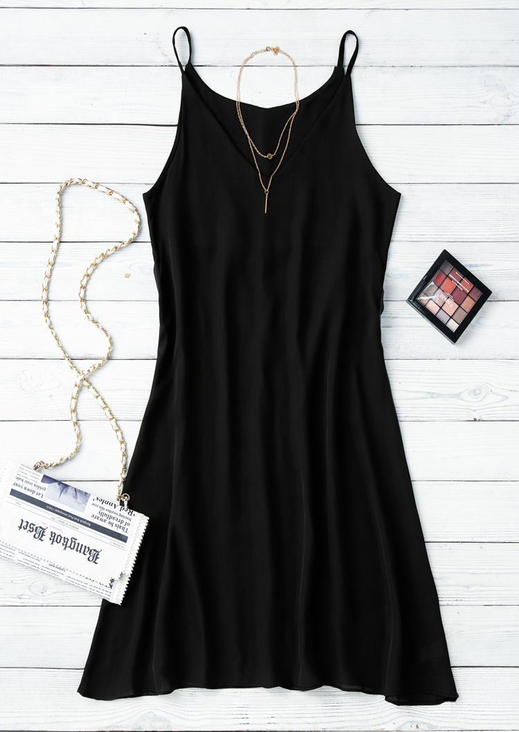 V-Neck Spaghetti Strap Mini Dress - Black