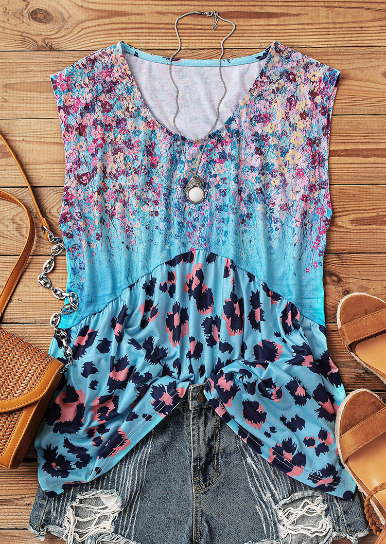 Leopard Floral Ruffled O-Neck Tank
