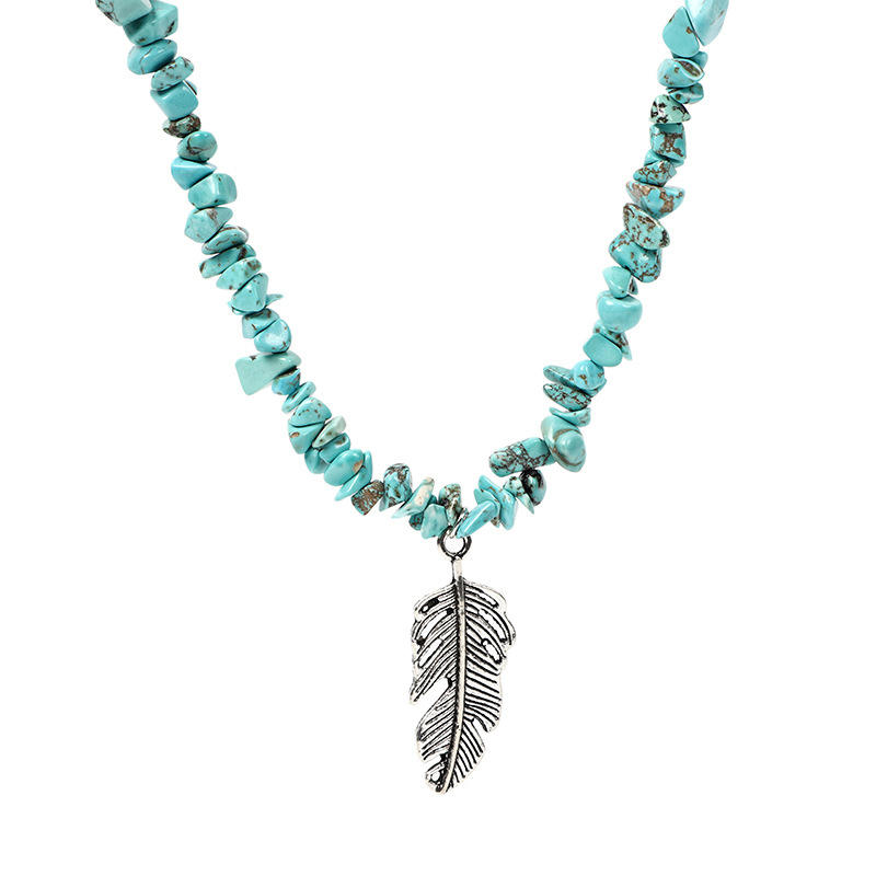 2Pcs Turquoise Sunflower Feather Pendant Necklace Set
