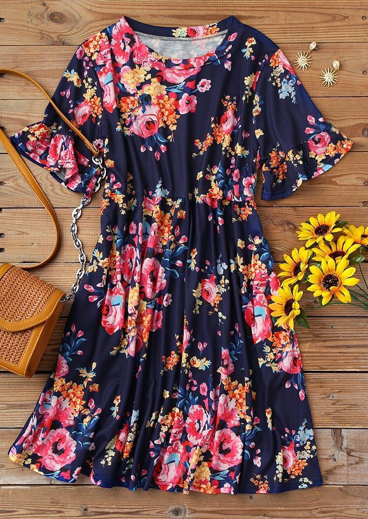 Vintage Floral Ruffled O-Neck Mini Dress