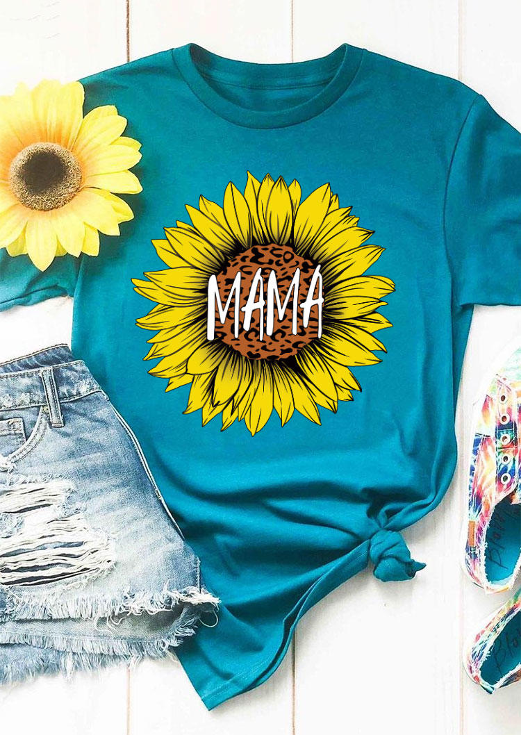 Leopard Mama Sunflower T-Shirt Tee - Cyan