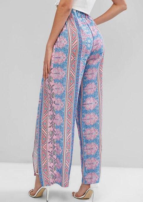Bohemian Geometric Elastic Waist Slit Wide Leg Pants