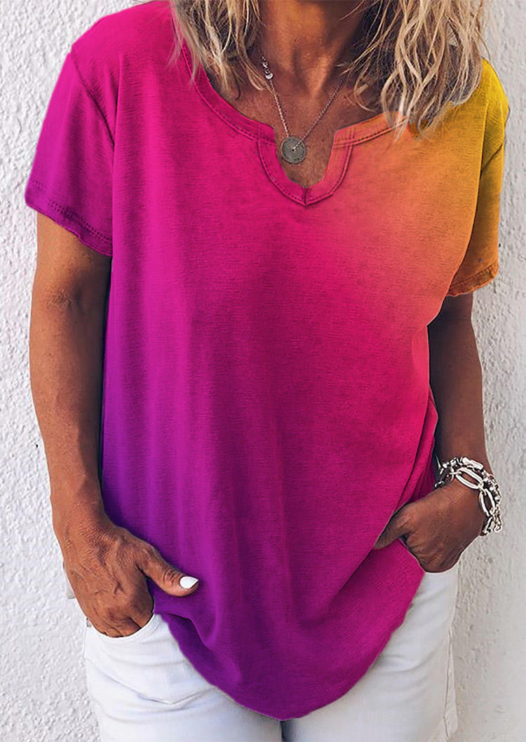 Gradient V-Neck Loose Blouse - Purple