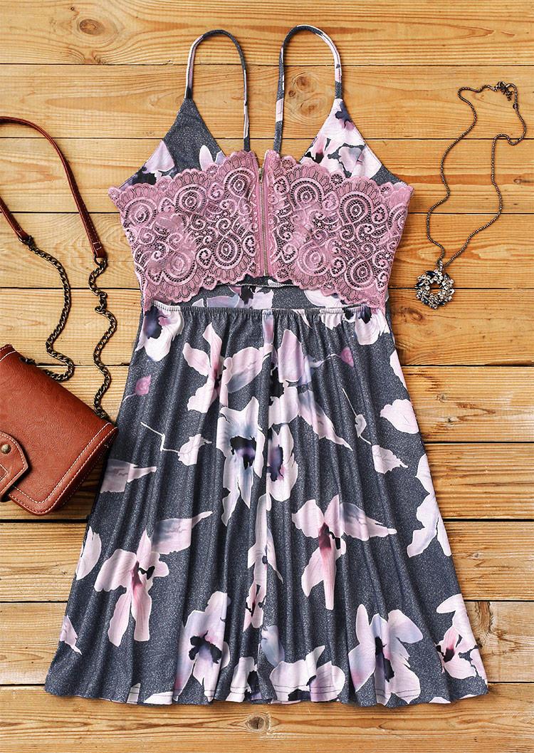 Lace Floral Splicing Spaghetti Strap Ruffled Mini Dress - Gray