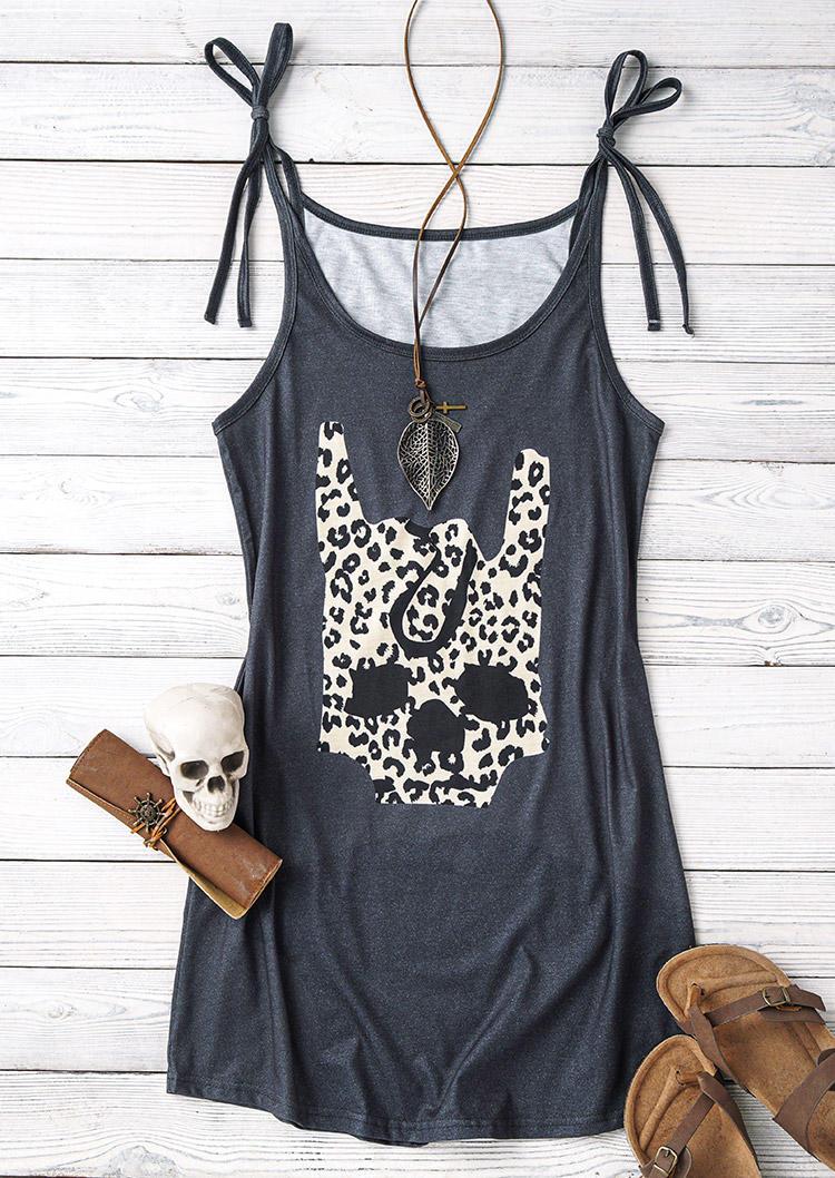 Leopard Skull Gesture Tie Spaghetti Strap Mini Dress - Dark Grey
