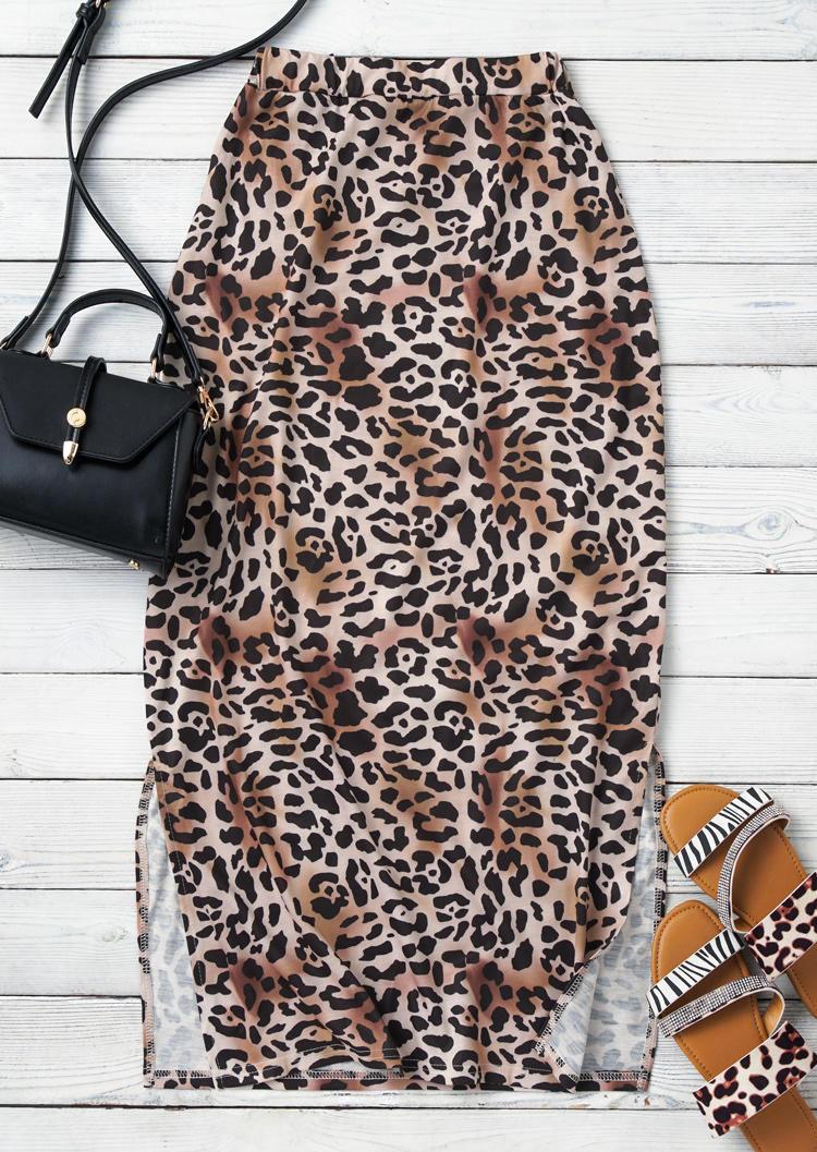 Leopard Elastic Waist Slit Long Pencil Skirt