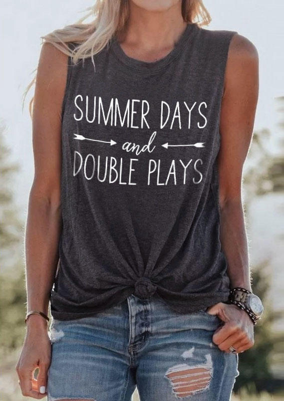Summer Days And Double Plays Casual Tank - Dark Grey