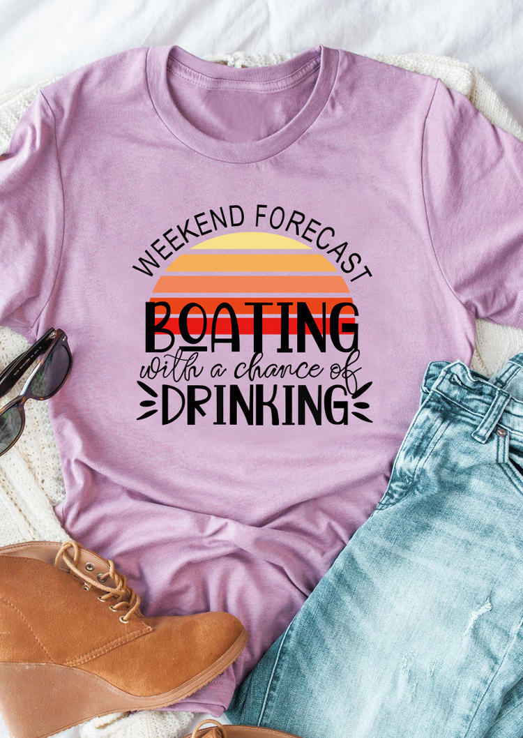 Weekend Forecast Floating Drinking T-Shirt Tee - Purple, 503166