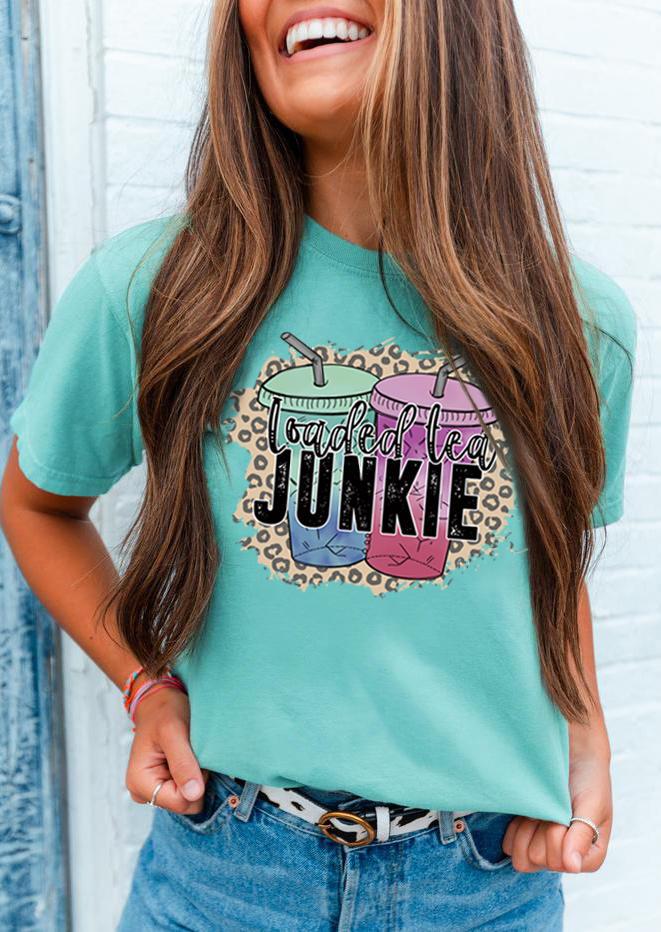 Loaded Tea Junkie Leopard T-Shirt Tee - Cyan