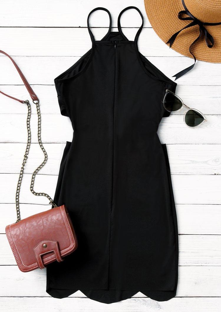 Hollow Out Criss-Cross Halter Bodycon Dress - Black