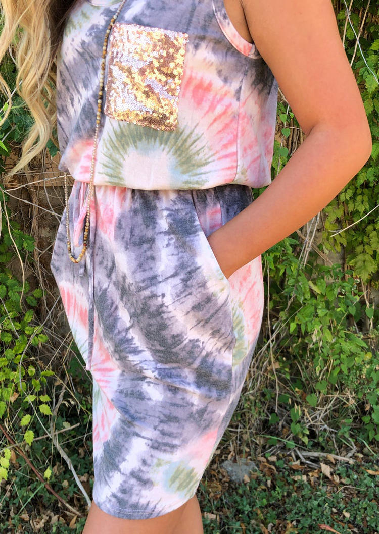 Tie Dye Swirl Sequined Drawstring Pocket Mini Dress