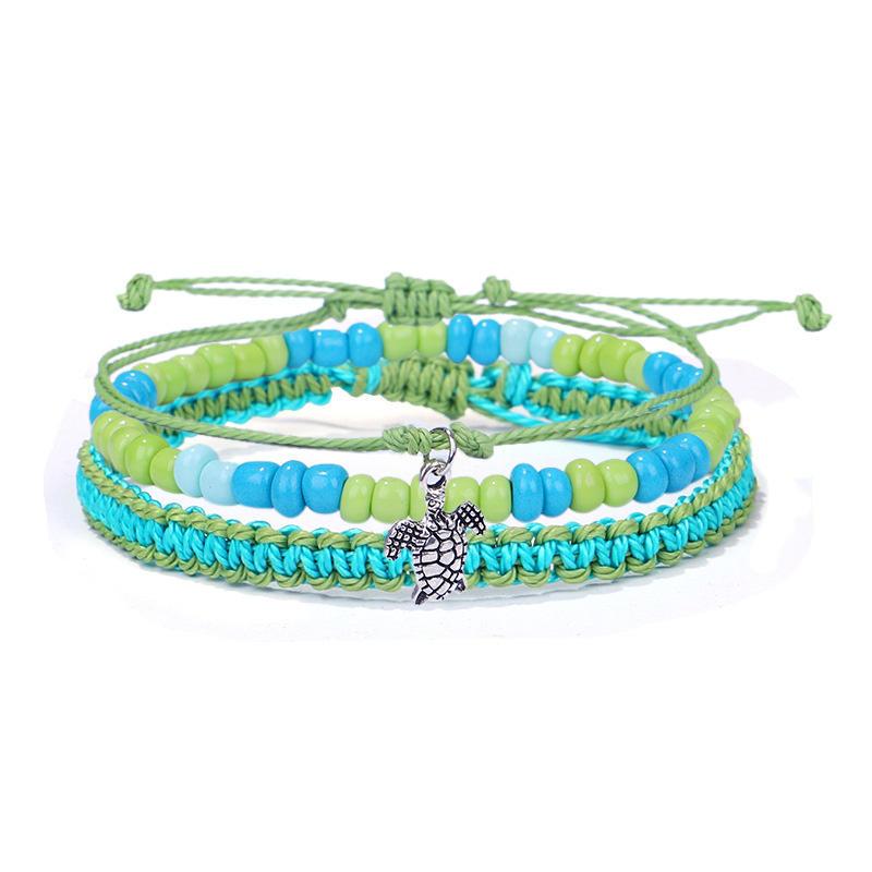 3Pcs Dolphin Turtle Starfish Colorful Beading Braided Bracelet Set