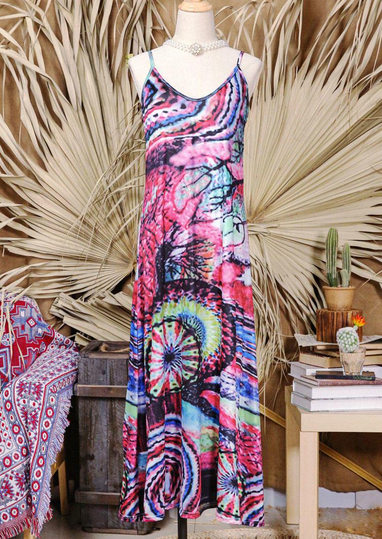 Bohemian Tie Dye Spaghetti Strap Maxi Dress