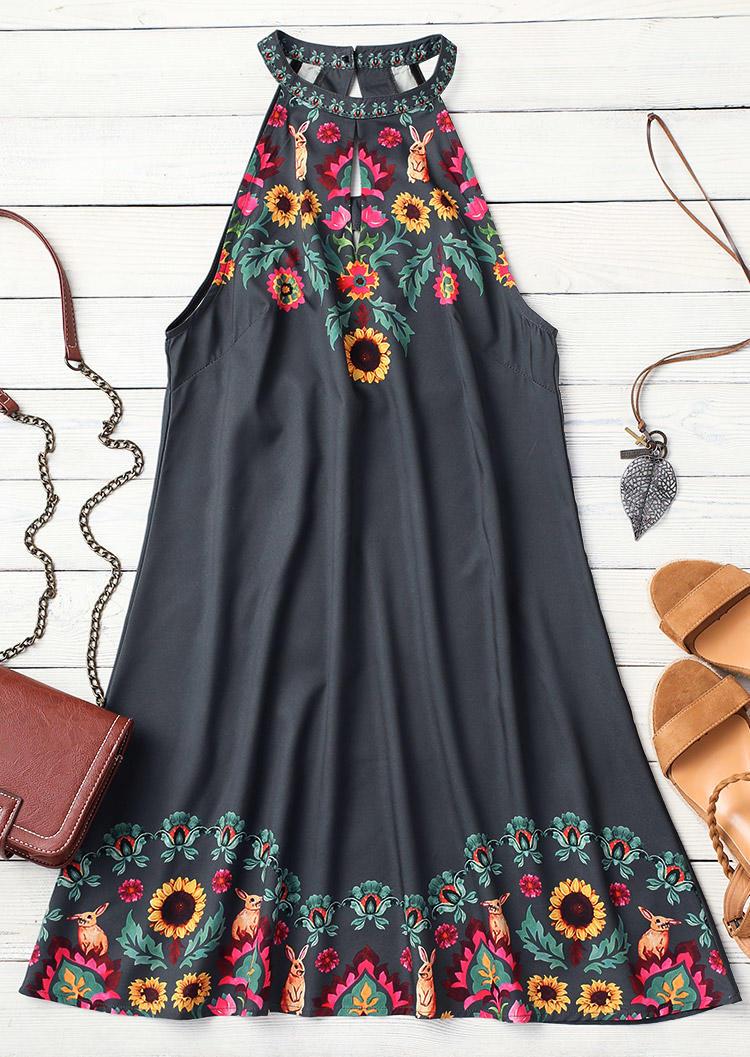 Floral Halter Hollow Out Button Mini Dress - Dark Grey