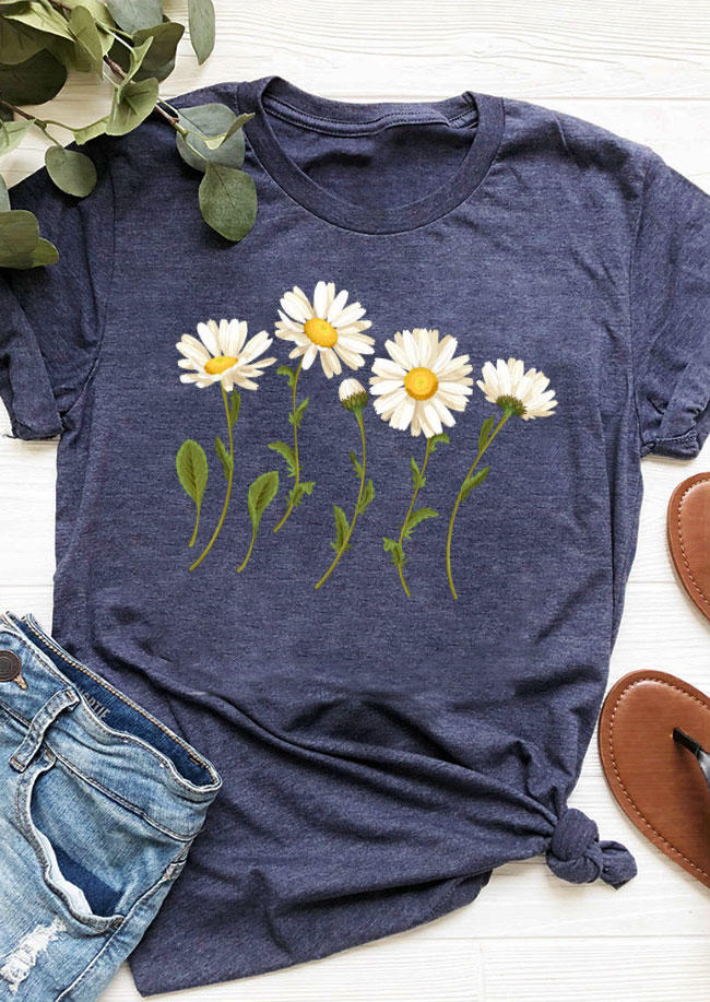 Daisy O-Neck T-Shirt Tee - Navy Blue
