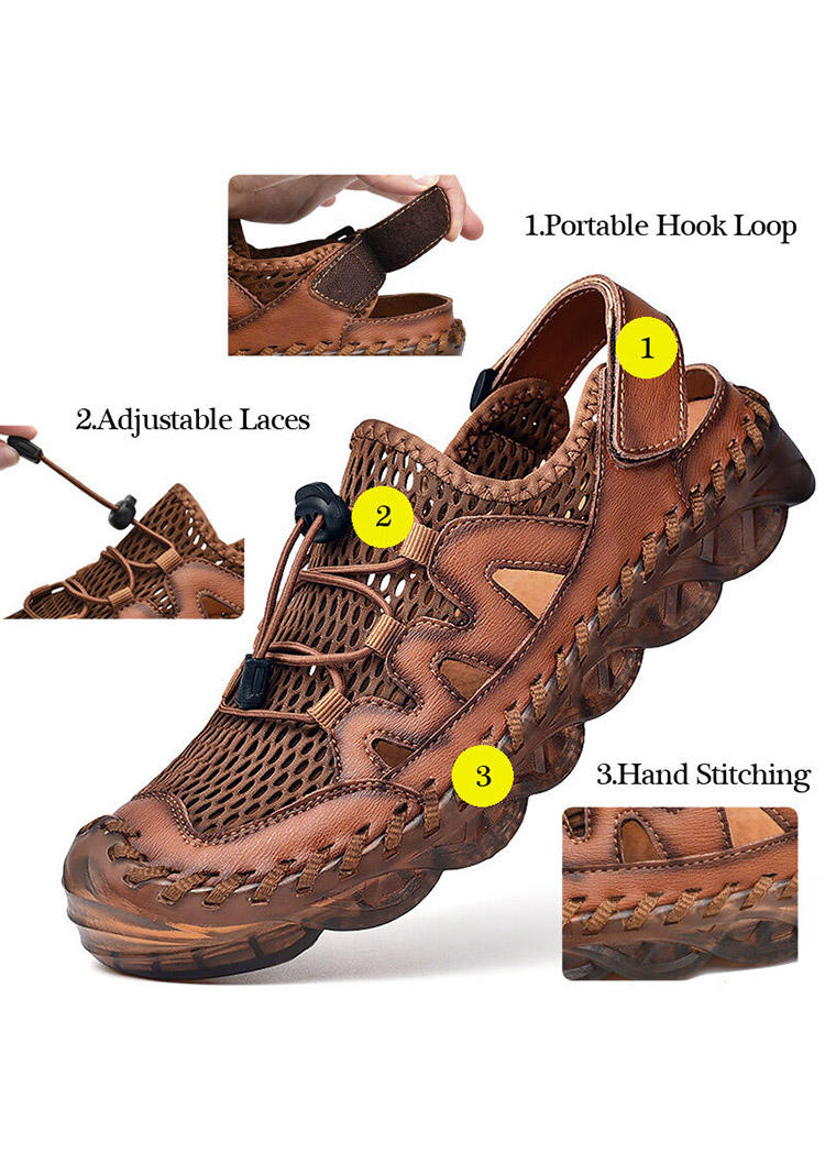 Men Breathable Mesh Hollow Out Round Toe Flat Leather Sandals
