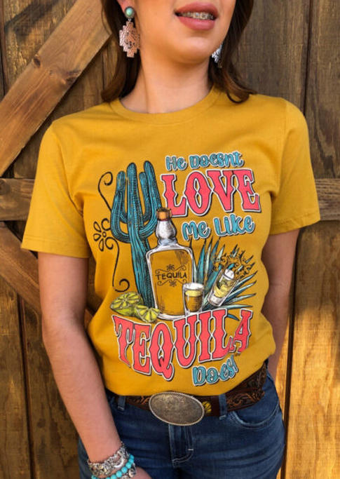 He Doesn't Love Me Like Tequila Does Cactus T-Shirt Tee - Yellow