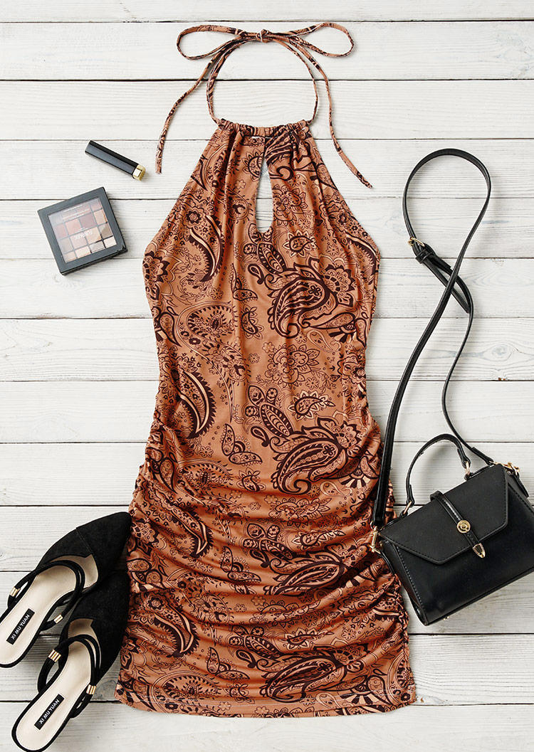 Paisley Ruched Open Back Keyhole Neck Halter Bodycon Dress - Light Brown