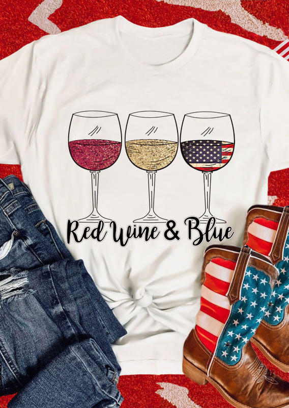 Red Wine And Blue American Flag T-Shirt Tee - White