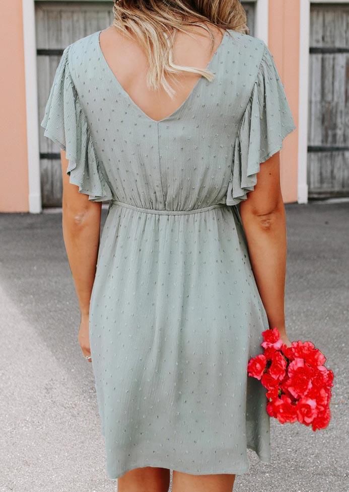 Dotted Swiss Ruffled V-Neck Mini Dress - Light Green