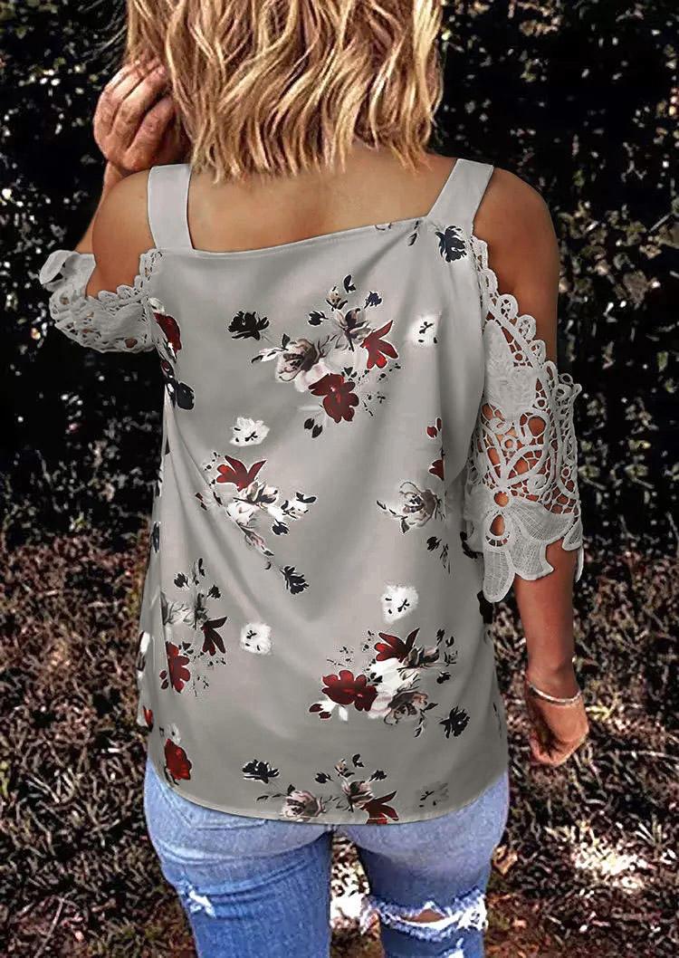 Floral Lace Splicing Cold Shoulder V-Neck Blouse - Gray