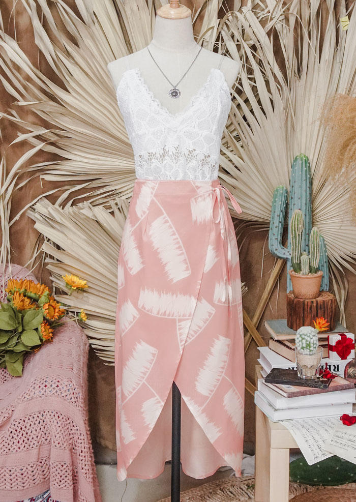 Lace Camisole + Palm Leaf Wrap Long Skirt Outfit - Pink