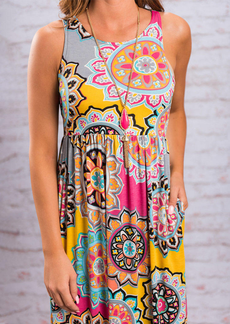 Mandala Ruffled Pocket O-Neck Maxi Dress