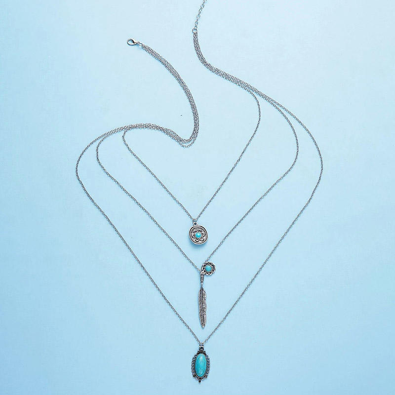 Turquoise Leaf Multi-Layered Pendant Necklace - Silver