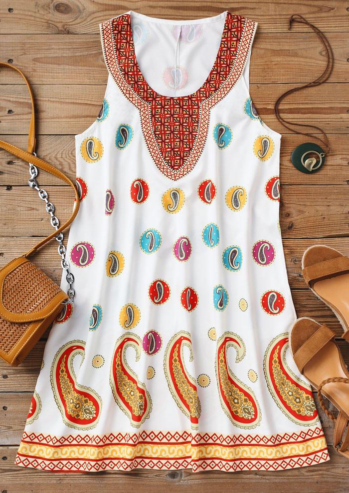 Vintage Paisley Sleeveless Mini Dress - White