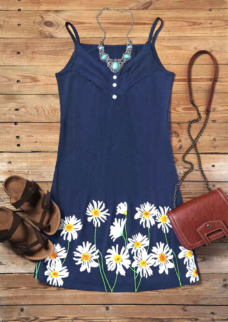 Daisy Ruffled Button Spaghetti Strap Mini Dress - Navy Blue