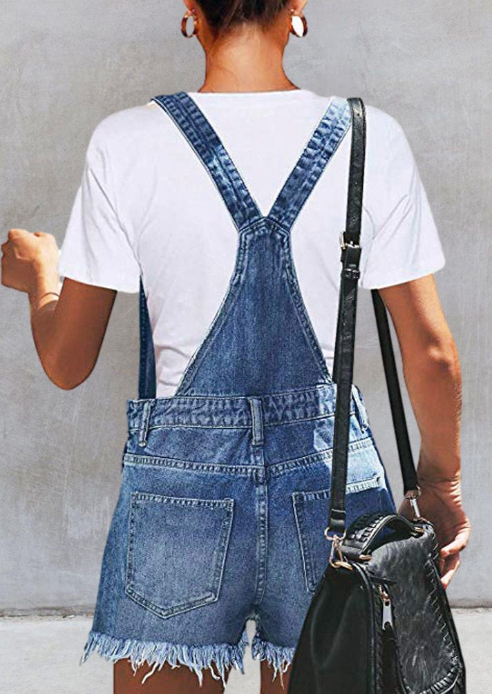 Pocket Button Ripped Hole Denim Overalls Romper - Blue