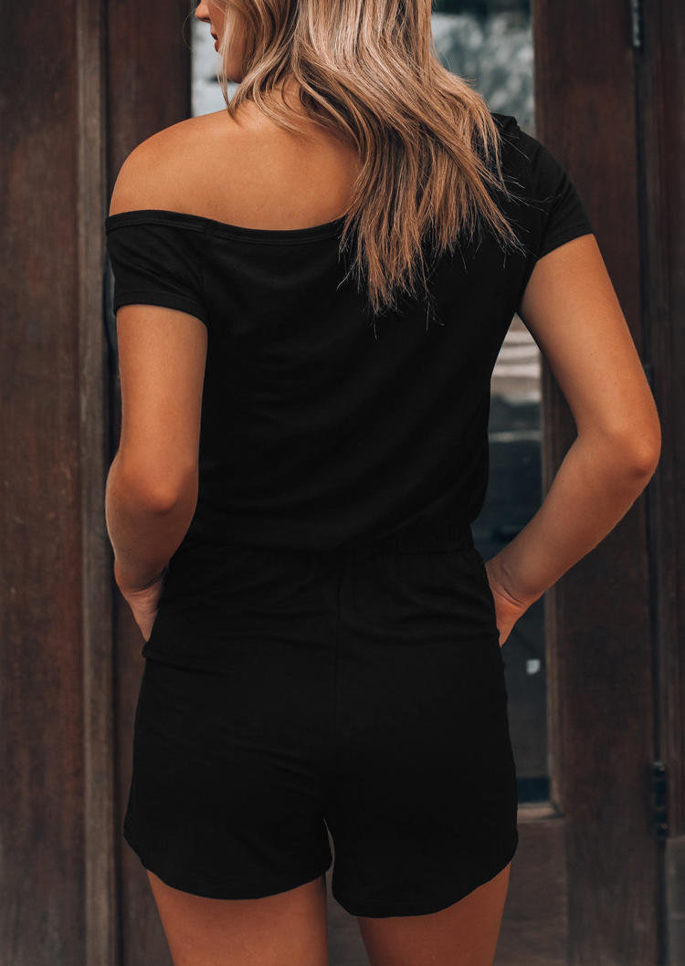 You Had Me At Day Drinking Pocket Romper - Black